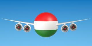 Hongaarse luchtvaartlijnen en flying& x27; s concept het 3d teruggeven Stock Fotografie