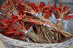 Hongaarse paprika die in de gerimpelde kom wordt verfraaid Royalty-vrije Stock Afbeeldingen
