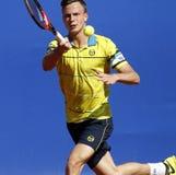 Hongaarse tennisspeler Marton Fucsovics Stock Foto's