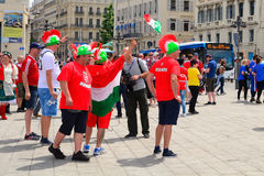 Hongaarse voetbalventilators in Euro 2016, Marseille, Frankrijk stock afbeelding