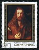 HONGARIJE - CIRCA 1978: Een postzegel in Hongarije wordt gedrukt toont schilderend Albrecht Durer, circa 1978 die Stock Foto's
