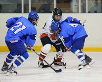Hongarije - Italië onder 16 icehockeyspel Royalty-vrije Stock Fotografie