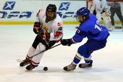 Hongarije - Italië onder 16 icehockeyspel Royalty-vrije Stock Foto's