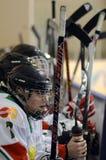 Hongarije - Italië onder 16 icehockeyspel Royalty-vrije Stock Foto