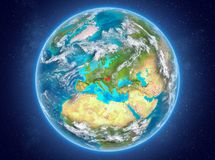 Hongarije op aarde in ruimte Royalty-vrije Stock Foto