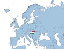 Hongarije op de kaart van Europa Stock Foto