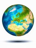 Hongarije ter wereld met witte achtergrond Stock Fotografie