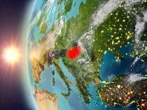 Hongarije tijdens zonsondergang van ruimte Royalty-vrije Stock Fotografie