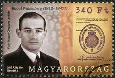 HONGARIJE - 2012: toont Raoul Gustaf Wallenberg 1912-1945, Zweedse architect, zakenman, diplomaat en humanitair stock afbeelding