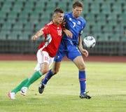Hongarije versus de voetbalspel van IJsland Stock Fotografie