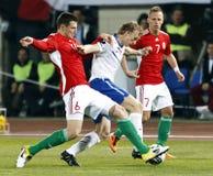 Hongarije versus de voetbalspel van Nederland Royalty-vrije Stock Afbeeldingen