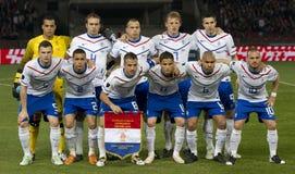 Hongarije versus de voetbalspel van Nederland Stock Foto