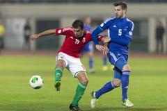 Hongarije versus de voetbalwedstrijd van Andorra Stock Afbeelding