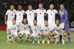 Hongarije versus de voetbalwedstrijd van de Tsjechische Republiek royalty-vrije stock foto