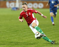 Hongarije versus Moldova het kwalificerende spel van 2012 van de Euro van UEFA Royalty-vrije Stock Foto