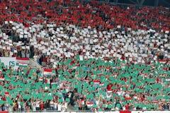 Hongarije versus Nederland Van de Euro 2016 van UEFA van Roemenië het bepalende woordvoetbalwedstrijd Stock Fotografie