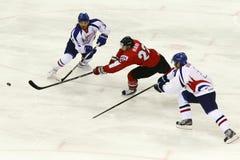 Hongarije versus van het de Wereldkampioenschap van Korea IIHF het ijshockeygelijke Stock Afbeeldingen