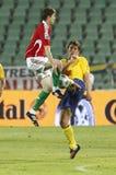 Hongarije versus Zweden, het Bepalende woord van de Kop van de Wereld van FIFA Stock Foto