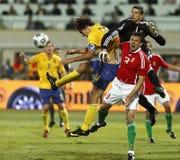 Hongarije versus Zweden, het Bepalende woord van de Kop van de Wereld van FIFA stock afbeeldingen