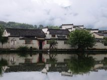Huizhou ancient village between mountains and rivers stock image