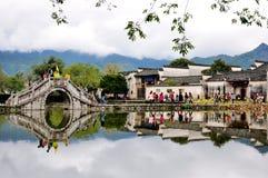 Hongcun bylandskap, Kina arkivfoto