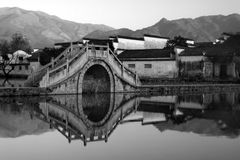 Hongcun Village. The charming old village of Hongcun, China in black and white Royalty Free Stock Images