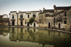 Hongcun village, famous moon pool, water reflectio Royalty Free Stock Photo