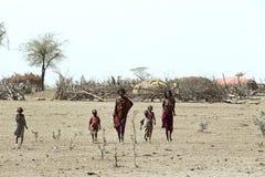Honger en dorst in Ethiopische woestijn door droogte royalty-vrije stock fotografie
