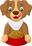 Hongerig hondbeeldverhaal met hondevoer stock illustratie