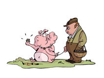 Hongerig truffelvarken royalty-vrije illustratie