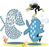 Hongerig vissenbeeldverhaal Stock Foto