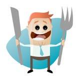 Hongerige beeldverhaalmens met vork en mes Royalty-vrije Stock Afbeelding