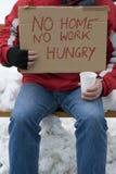Hongerige daklozen, werkloos, stock afbeelding