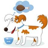 Hongerige honddromen over vlees royalty-vrije illustratie