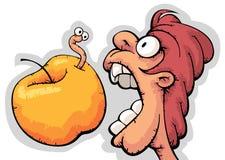 Hongerige kerel het bijten appel Stock Afbeeldingen