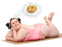 Hongerige vrouw. Stock Afbeeldingen