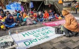 Hongerstaking van vluchtelingen Stock Fotografie