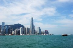 Hongkong. Wide-angle panoramic of hongkong with skyscraper and ship stock photography