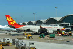 HongKong Airlines Airbus 330 at Hong Kong Airport Royalty Free Stock Image