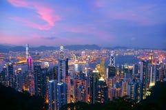 Hongkong & kowloon bij nacht Stock Foto's