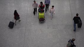 4K Aerial View Travellers At Arrival Hall Of Hong Kong international airport stock video footage