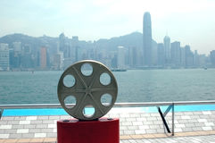 Hongkong - Avenue of Stars. Hongkong, Kowloon - popular Avenue of Stars with harbour view and skyscrapers in far distance Stock Photography