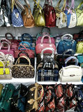 Hongkong bags on shelves Stock Photo