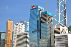 Hongkong bank buildings in business center Royalty Free Stock Photos