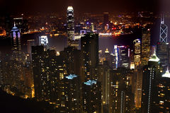 Hongkong bij de Piek van de Nacht Royalty-vrije Stock Afbeeldingen