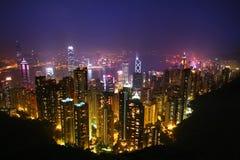 Hongkong bij Nacht stock afbeelding