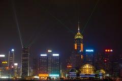 Hongkong bij nacht Royalty-vrije Stock Afbeelding