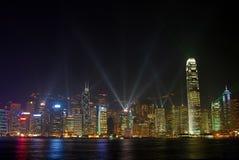 Hongkong bij nacht Stock Foto's