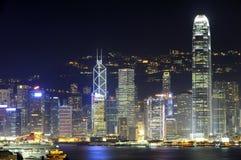 Hongkong bij Nacht Stock Foto
