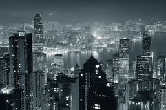 Hongkong bij nacht in zwart-wit Royalty-vrije Stock Afbeelding